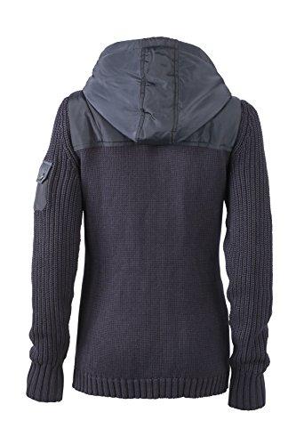 James & Nicholson Damen Jacke Jacke Ladies' Knitted Winter Cardigan Navy/Lightgrey-Melange
