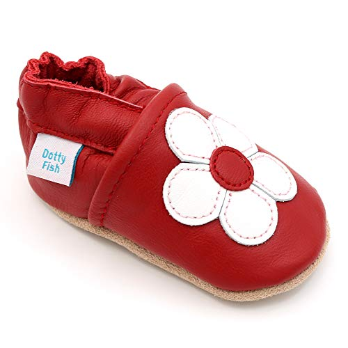 414b59f3eb7 Dotty Fish Soft Leather Baby Shoes. Toddler Shoes. Girls. Non Slip Suede  Soles