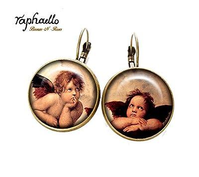 """Boucles d'oreilles """" Anges """" cabochon rétro bronze Tableau Raphaël verre dormeuses"""