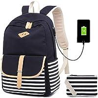 Netchain Mochila Escolares Mujer Mochila de Lona Canvas Backpack Laptop Mochila para Ordenador Portátil 15.6 Pulgadas