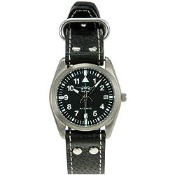 Skytimer 507526002Clock Automatic Miyota 8215Titanium Case Glass Base, 5ATM water resistant, Aviator Leather Bracelet