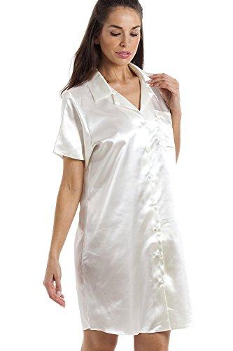 902c422ae7a7c5 ... Camille Damen Luxuriöses Knielänge Satin Satin Nachthemd Elfenbein
