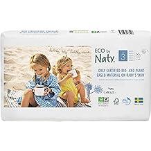 Pañales desechables Eco by Naty Premium para piel sensible, tamaño 4, paquete de 4