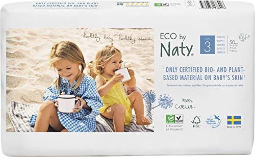 Eco by Naty, Größe 3, 100 Windeln, 4-9kg, pflanzliche Premium-Bio‑Windeln mit 0{eb4425891d2e0acd96acc232add6a1b4c8fa4d343d0cd55fbba83f1d5e07b95f} Plastik auf der Haut
