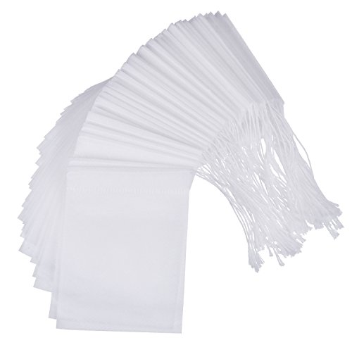 100 Pack Disposable Tea Filter Bag Empty Tea Bags Drawstring Loose Tea Bag, 2.75 x 3.54 Inch