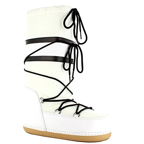 Damen Schuhe Nylon Schnee Regen Stiefel Winter Moon Snow Boots - Weiß - 38/39