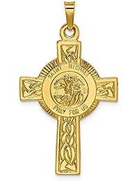 501bb149bdf DIAMOND2DEAL INC Colgante de Oro Amarillo de 14 K con Cruz y Medalla de San  Miguel