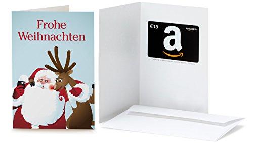 Amazon.de Grußkarte mit Geschenkgutschein - 15 EUR (Selfie Santa)