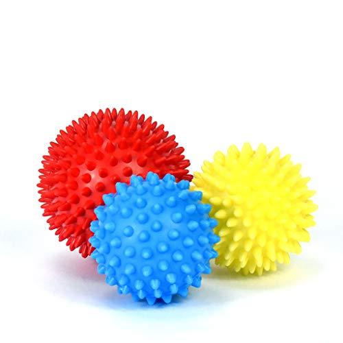 MEGLIO Igelball Massageball 3er Set - Noppenball perfekt für den Stress Reflexologie und Triggerpunkt-Massagen - mit kostenloser Übungsanleitung 6.5cm (blau), 7.5cm (gelb), und 9cm (rot)