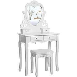 SONGMICS Coiffeuse, Table de Maquillage, Avec 1 Miroir Pivotant, 4 Tiroirs, 1 Tabouret, Parois dans le Tiroir, Blanc RDT14W