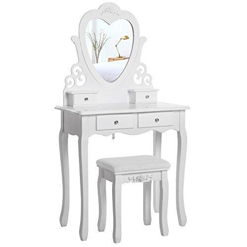 Songmics herzförmigen Spiegel Schminktisch mit Hocker und 4 Schubladen, inkl. 2 Stück Unterteiler, Kippsicherung, weiß 75 x 138 x 40 cm (B x H x T) RDT14W