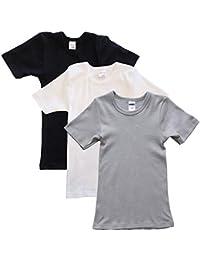 HERMKO 2810 3er Pack Kinder kurzarm Unterhemd für Mädchen + Jungen