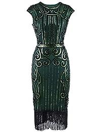 Kanpola Vantage Damen Flapper Kleid Retro Pailletten verschönert Quasten  Saum Jahre Stil Kleider für Party Abend cfb17928f8