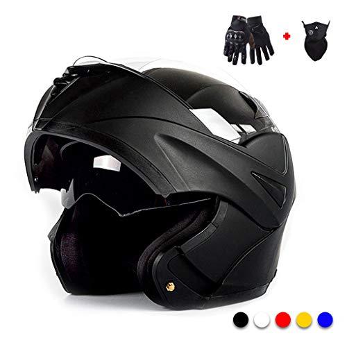 LXXTI Casco Integrale da Moto, Casco da Moto Crash Modular Casco da Motociclista Omologato Full Face con Parasole per Uomo Adulto Casco Moto da Motociclista Anteriore Flip Up,Nero,M
