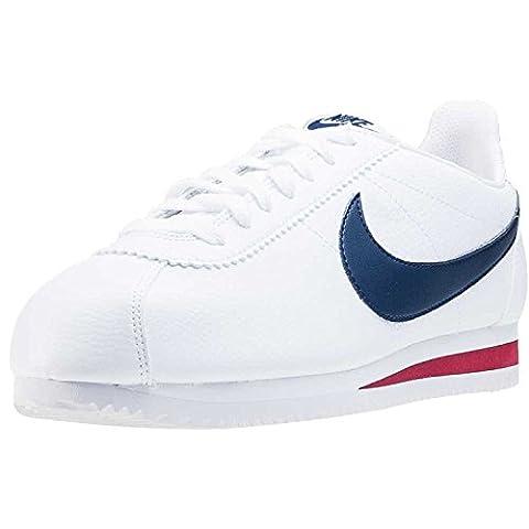 Nike Herren Classic Cortez Leather Laufschuhe, Weiß / Blau / Rot (White / Midnight Navy-Gym Red), 42 1/2