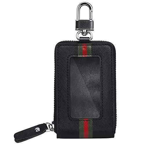 Keyless Go Schutz Autoschlüssel Schutzhülle Leder, Funkschlüssel Abschirmung Blocker, Faraday Schlüsseltasche, Strahlenschutz Tasche, RFID Blocking Hülle Box, Etui Schlüsseletui - Schwarz