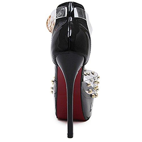 Oasap Women's Peep Tie Rivet Stiletto Heels Sandals Black