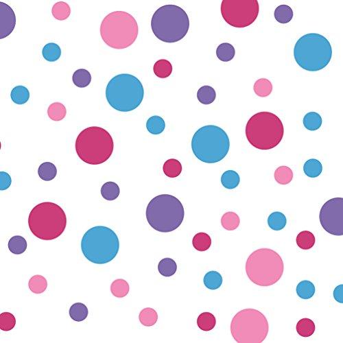 DecalVenue.com Set von 60Kreise Polka Dots Vinyl Wandaufkleber (Lavendel/Pink/Ice/Blau) Hot Pink