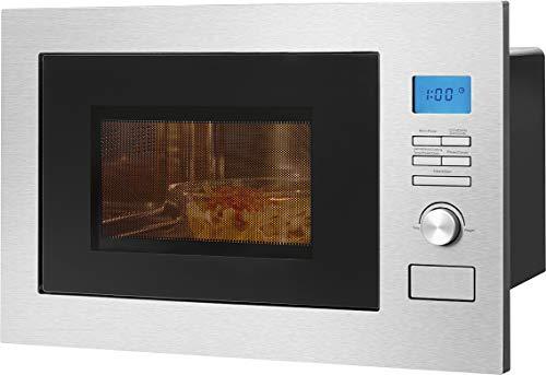 Bomann MWG 3001 H EB Four à micro-ondes encastrable 3 en 1 avec grille et air chaud, écran LCD, 8 programmes automatiques, fonction minuterie, 25 L de garage, façade et intérieur en acier inoxydable