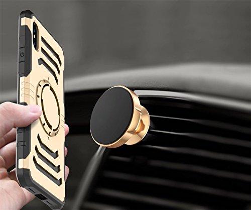 iPhone X Hülle, MOONMINI für iPhone X Car Mount Ring 2 in 1 Dual Layer Hybrid Weich TPU Silicone Hart PC Stoßfest Handy Tasche Case Slim fit Zurück Schutzhülle Rose Gold Grau