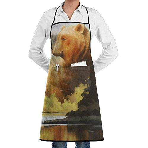 Sangeigt Küche, die Garten-Schürze kochtn, Bib Apron with Pockets Forest Mountain Lake Bear Durable Cooking Kitchen ()