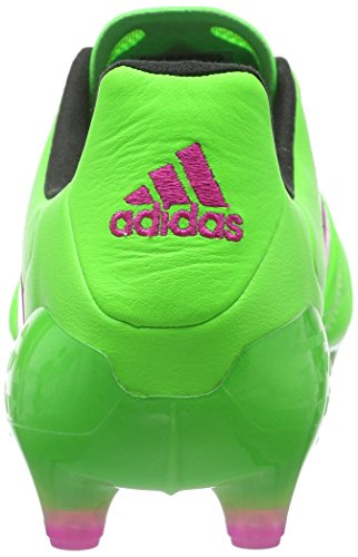 adidas Ace 16.1 FG/AG Leather, Chaussures de Foot Homme, Noir/Orange, 45 EU Grün (Solar Green/Shock Pink/Core Black)