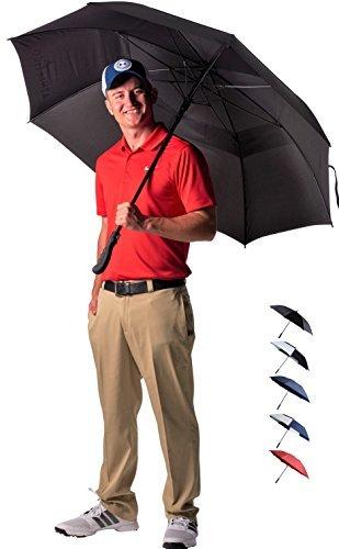 Golf Regenschirm Athletico, 172,7 cm, mit Automatik zum Öffnen - Extra großer, doppelt bespannter Regenschirm, wind- und wasserdicht - Mit ergonomischem Gummigriff, Schwarz , 157,5 cm (62 Zoll) -