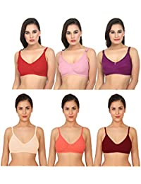 e738e23aceb79 XCare Women Cotton Mix Seemless Wirefree Push Up Bra (Pack of 6) (Color