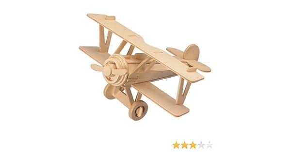 Flugzeugmodellbausätze DIY hölzerner Doppeldecker Spielzeug Geschenk für Kinder