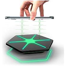 Dazzling LED Qi Wireless Charger Cargador Inalámbrico de móvil por inducción [Verde] para Samsung Galaxy S6 edge plus, S7, S7 edge, Note 5, Nexus 4 / 5 / 6 / 7