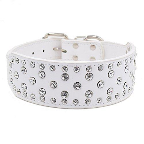 Hundehalsband Strasshalsband Halsbänder mit klein groß Strass 38-61cm Halsumfang 5cm Breit für große Hunde Hunter Luxus, Weiß L (Luxus-leder-hundehalsbänder)