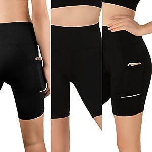 Pantalón Corto Deportivo para Mujer, Running Pantalones cortos de yoga con bolsillo lateral , Fitness Mallas Deportivas, Polainas de yoga Fitness, pantalones deportivos y elásticos polaina (negro, S)