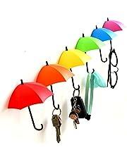Generic Umbrella Key Hat Wall Multipurpose Holder Hanger Hooks (Multicolour)-3 Pieces