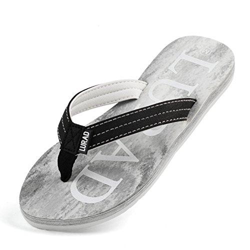 moda Ms legno infradito/Estate antiscivolo piatto cartella trascinare pantofole/Scarpe con la suola spessa spiaggia D