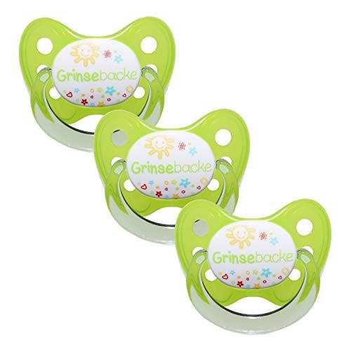 Dentistar® Schnuller 3er Set- Nuckel Silikon in Größe 2, 6-14 Monate - zahnfreundlich & kiefergerecht - Beruhigungssauger für Babys - Grün Grinsebacke