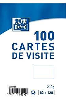 Oxford Coffret De 100 Cartes Visite 82 X 128 Cm Blanc