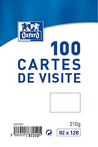 Oxford Coffret de 100 Cartes de visite 8,2 x 12,8