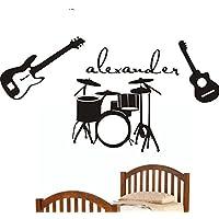 Musica, chitarre, tamburi, lettera iniziale del nome in vinile, decalcomania da parete, decorazione perfetta per Nursery o della sala giochi