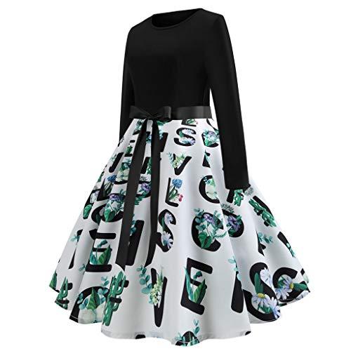 OverDose Damen Urlaub Karneval Stil Frauen Casual Langarm Schlag Krawatte Druck Vintage Kleid Lange...