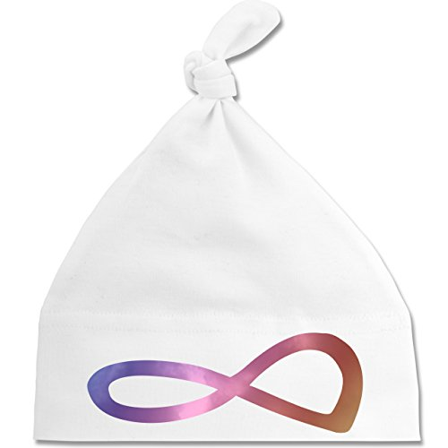 Up to Date Baby - Unendlich Forever Regenbogen - Unisize - Weiß - BZ15 - Baby Mütze mit einfachem Knoten als Geschenkidee