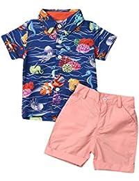Bebé Niño Traje de 2 Piezas Conjunto Top Camisa de Manga Corta Pantalón Corto Camiseta con Estampado Infantil Ropa Verano de Playa para Vacaciones