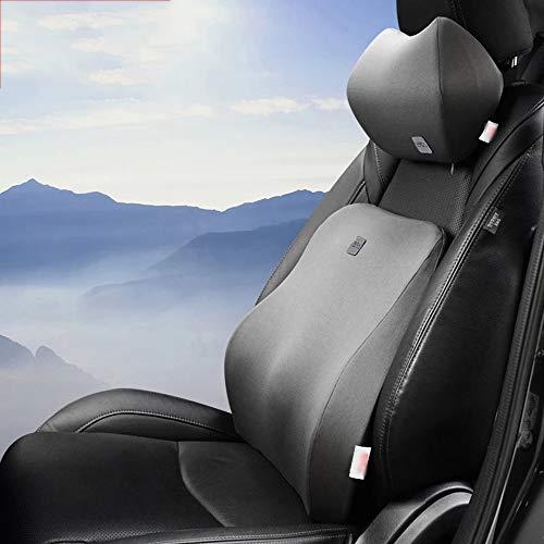 RUNWEI Lendenkissen Auto Kissen Speicher Baumwolle Kopfkissen Nackenkissen, Zurück Weiche Tasche, Taille Unterstützung Pad (Color : Gray, Size : 28x20x12cm+42x45x13cm) -
