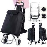 COSTWAY Einkaufstrolley in schwarz/klappbarer Einkaufswagen/Einkaufsroller bis 35kg / Shopping Trolley/Einkaufstasche