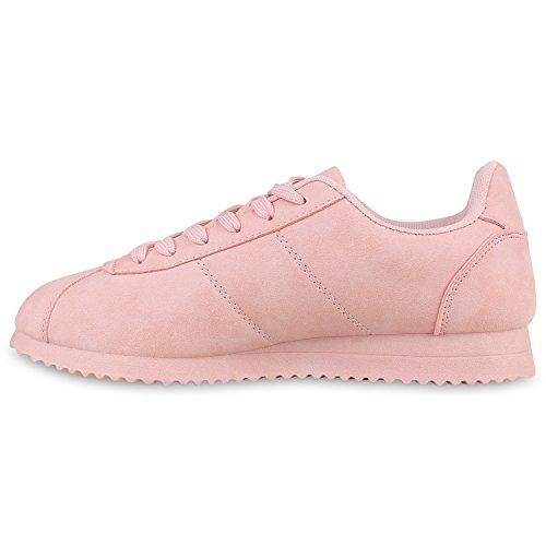 Damen Herren Sportschuhe Lederoptik Laufschuhe Sneakers Gesteppt Rosa Matt