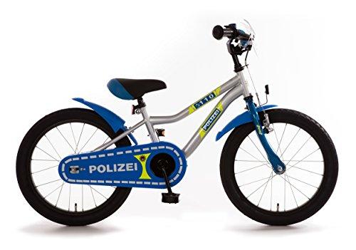 Bachtenkirch Kinderfahrrad 18 Zoll Polizei K-Rahmen blau Silber Neongelb Seitenständer - Fahrrad-polizei