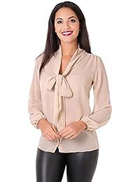 09b21d91c67c12 KRISP® Women Chiffon Long Sleeve Blouse Buttoned Shirt Tie Front Casual Tops  Black
