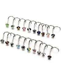 vcmart Lot de 20 bijoux piercing Barre Clous 18 g Mix Logos Anneaux piercings de nez à vis en acier broches (sans distribue)