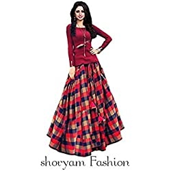 Shoryam Fashion Girl's Birthday Party Wear Semi Stitched Salwar Suit Gown Lehenga Choli(Baby Girl 12-18year_Free Size)