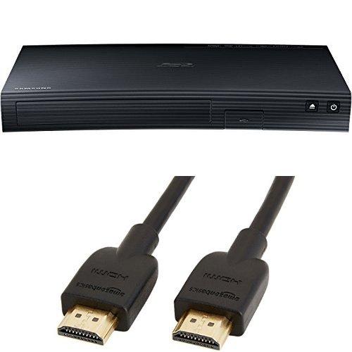 Samsung BD-J5500 3D Blu-ray Player (Curved Design, HDMI, USB) schwarz und AmazonBasics Hochgeschwindigkeits-HDMI-Kabel 2.0, Ethernet, 3D, 4K-Videowiedergabe und ARC, 1.8m