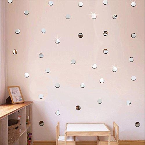 100 unds pegatinas pared espejo circulos plateados 2 cm para dormitorios infantiles salon hall de OPEN BUY